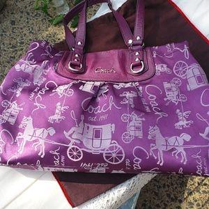 COACH Purple Ashley Horse & Carriage Satchel